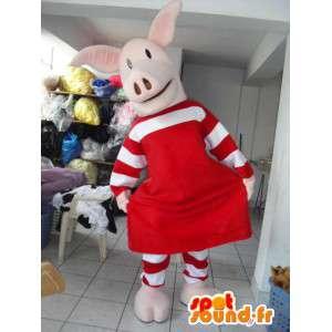 Roze varken mascotte met rode versiering en gestreepte rok