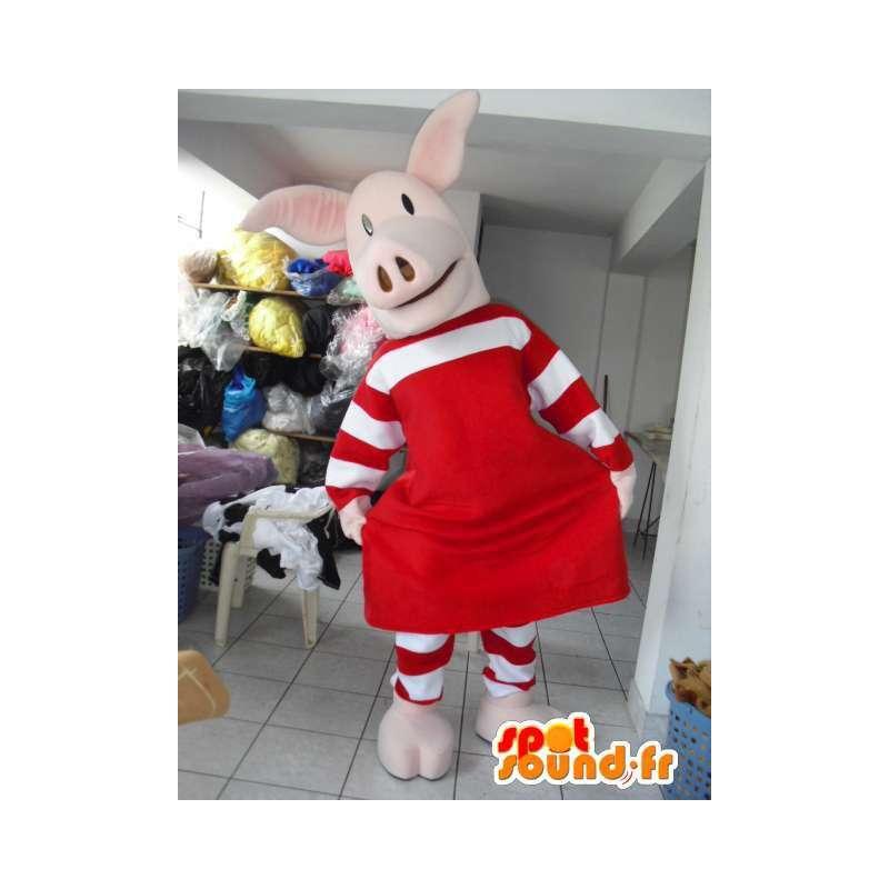 Mascotte de cochon rose avec habillage rouge à rayures et jupette - MASFR00621 - Mascottes Cochon
