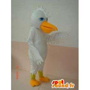 Mascotte de canard blanc et jaune à crête - Costume spécial fête