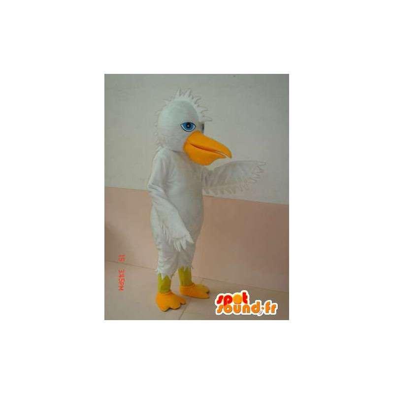 Anatra mascotte bianco e giallo cresta - Costume giorno speciale - MASFR00622 - Mascotte di anatre