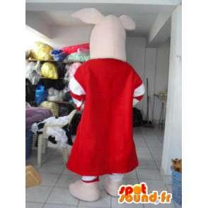Růžové prase maskot s červeným lemem a pruhované sukni - MASFR00621 - prase Maskoti
