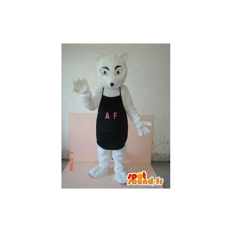 黒のエプロンAFと狼の衣装 - にカスタマイズ願い - MASFR00623 - ウルフマスコット