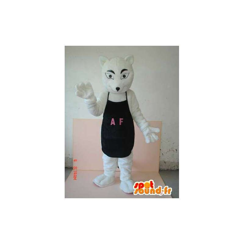 Traje de lobo con delantal negro AF - Altamente personalizable - MASFR00623 - Mascotas lobo