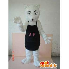 Wolf kostuum met zwarte schort AF - Klantgericht wens om - MASFR00623 - Wolf Mascottes