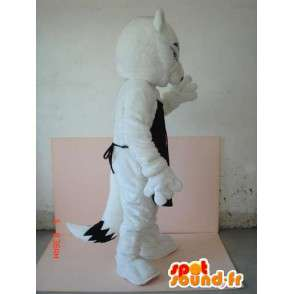 λύκος κοστούμι με μαύρο ποδιά AF - Προσαρμόσιμα επιθυμία να - MASFR00623 - Wolf Μασκότ