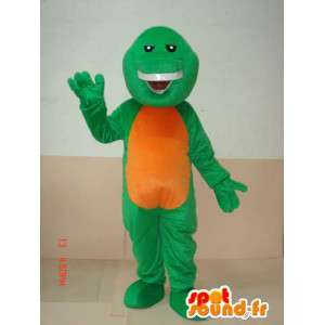 Mascot reptiel groen en oranje grijnzen - Bijzondere