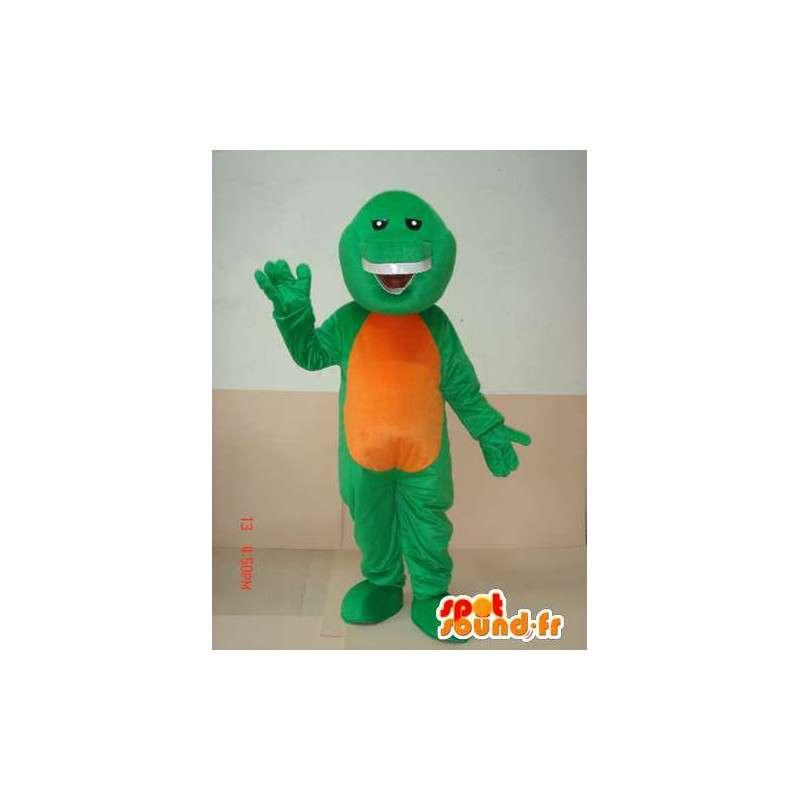 Mascot reptiel groen en oranje grijnzen - Bijzondere - MASFR00624 - mascottes reptielen