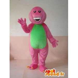 Mascot reptiel roze en groen grijnzende met tanden