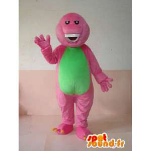 Mascotte reptile rigolard rose et vert avec de belles dents