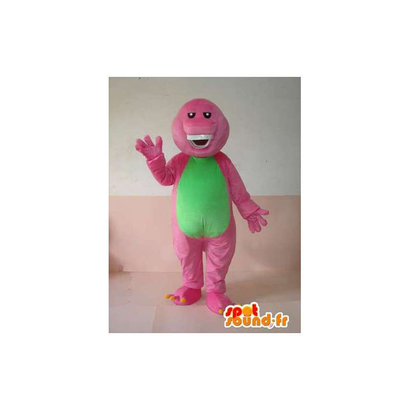 Μασκότ ερπετών ροζ και πράσινο χαμόγελο με τα δόντια - MASFR00625 - μασκότ ερπετά