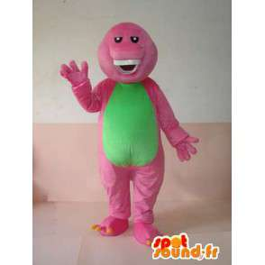 Reptile mascot grinning pink and green with beautiful teeth - MASFR00625 - Mascots of reptiles