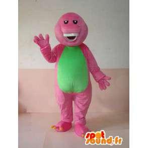 Reptile Maskottchen rosa und grün grinsend mit Zähnen - MASFR00625 - Maskottchen der Reptilien