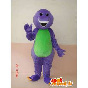 Reptile mascot grinning purple and green with beautiful teeth