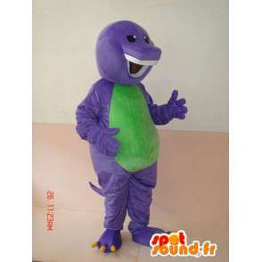 Reptile mascot grinning purple and green with beautiful teeth - MASFR00626 - Mascot snake