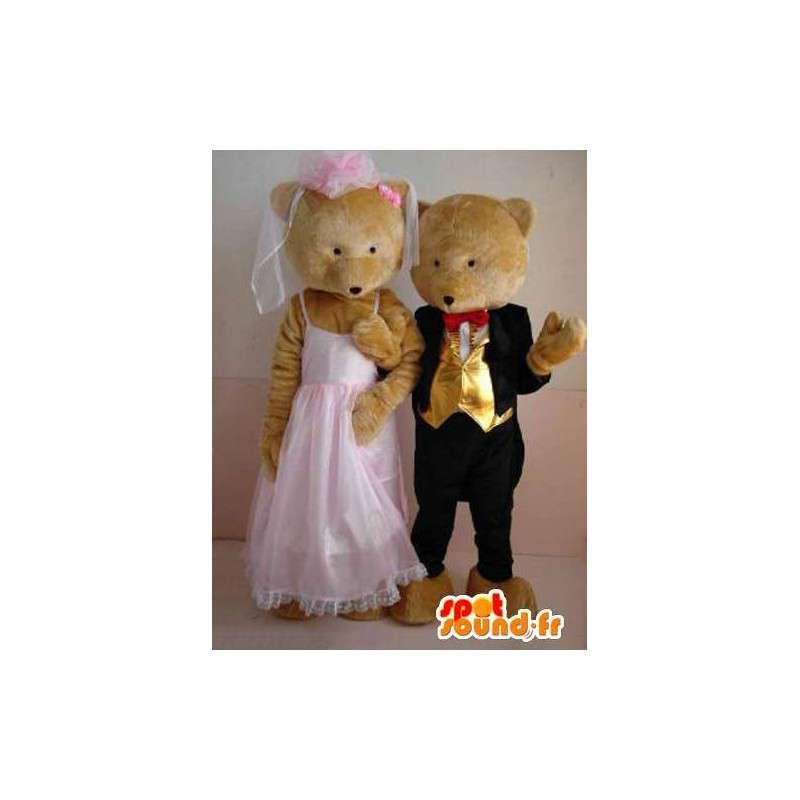 Bär und Junges Paar mit Hochzeitsanzug - Hochzeits-Sonder - MASFR00627 - Bär Maskottchen
