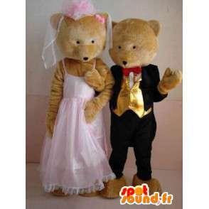 Couple ours et ourson avec costume de mariage - spécial Noces - MASFR00627 - Mascotte d'ours