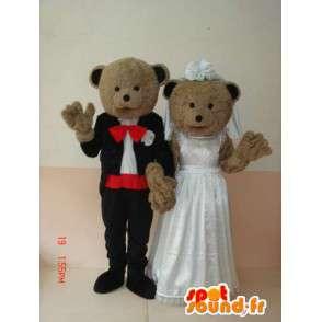 Medvěd a mládě pár s svatební šaty - Svatební speciál - MASFR00627 - Bear Mascot