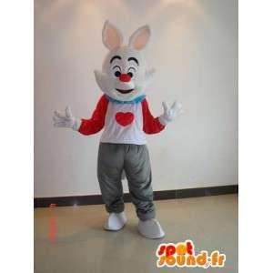 Konijn mascotte kleur - wit pak, rood, grijs met hart