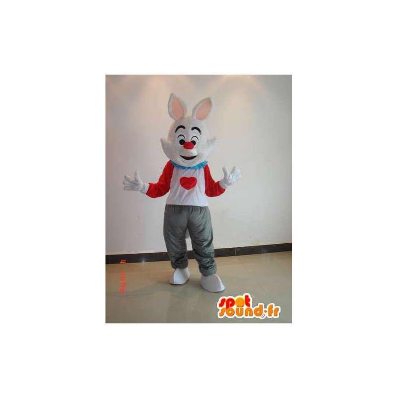 Kaninmaskot i farve - Kostume hvid, rød, grå med hjerte -