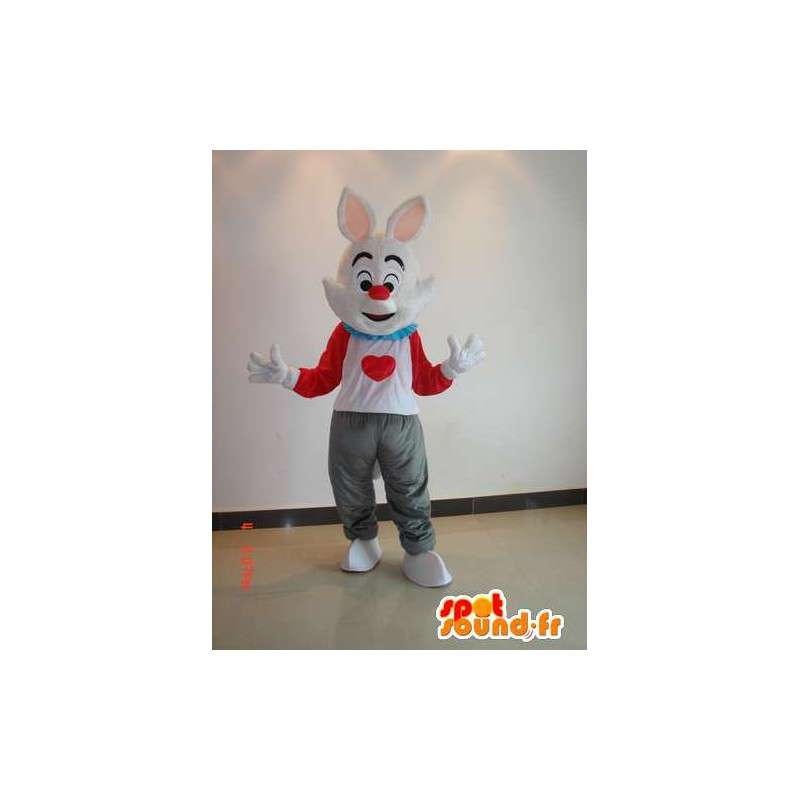 Konijn mascotte kleur - wit pak, rood, grijs met hart - MASFR00628 - Mascot konijnen