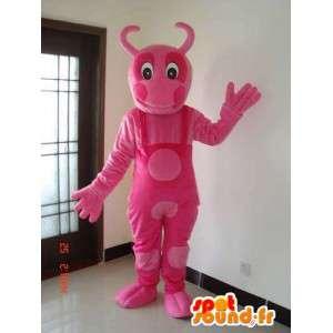 Różowa maskotka mrówka z całością stroju różowego groszku