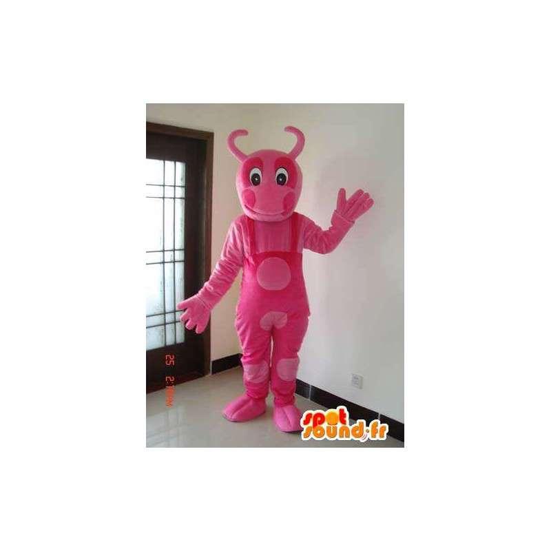 Różowa maskotka mrówka z całością stroju różowego groszku - MASFR00629 - Ant Maskotki