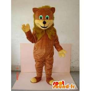 茶色のファー付きマスコットカブ - ジャングルの動物 - MASFR00630 - ライオンマスコット