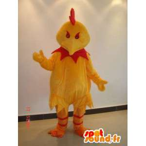 Evil mascot rooster red and yellow - Suit for sponsors