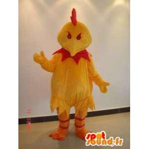 Mascotte coq maléfique rouge et jaune - Costume pour sponsors