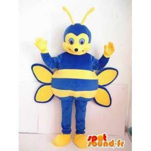 Mascotte abeille bleue et jaune à rayures. Costume d'insecte