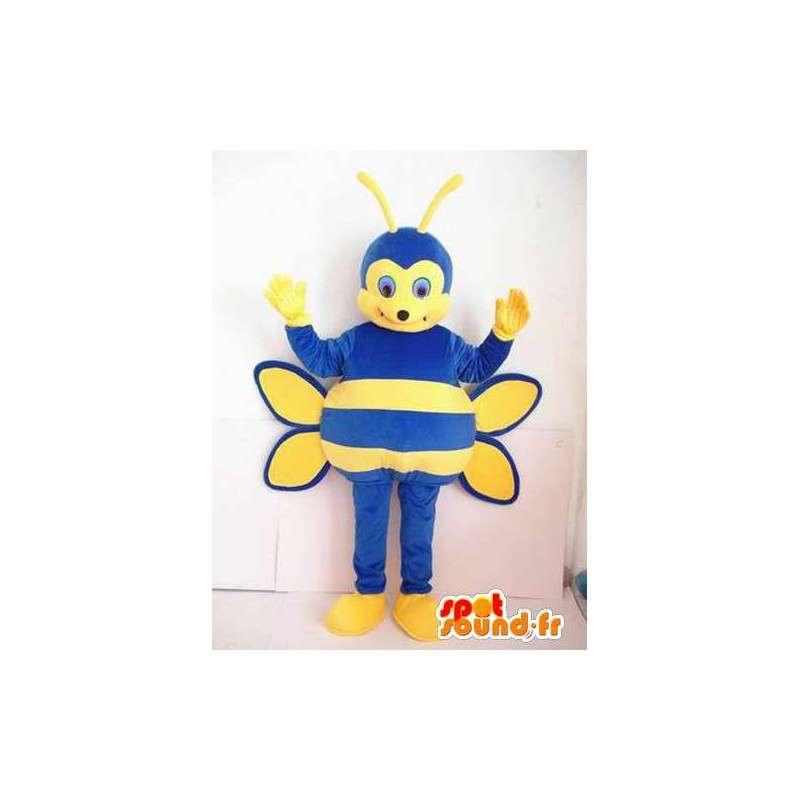Mascot blau und gelb gestreiften Biene.Kostüm Insekten - MASFR00632 - Maskottchen Biene