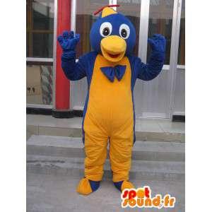 Mascotte gele en blauwe vogel met slimme geek cap