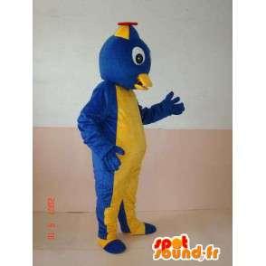 Mascot pájaro inteligente con el amarillo y el azul friki sombrero - MASFR00633 - Mascota de aves