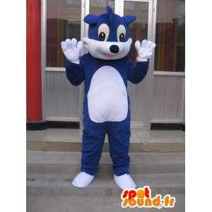 Mascot enkele blauwe en witte vos aanpasbaar naar believen