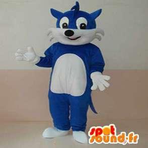 Blu mascotte Fox semplice e bianco personalizzabile per augurare - MASFR00634 - Mascotte Fox