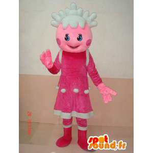 Mascotte écolière de Noël avec tenue rose et blanche - Festif