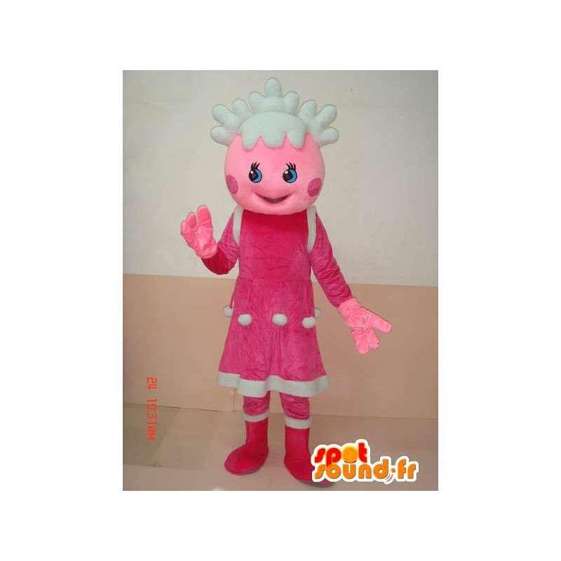 Mascotte écolière de Noël avec tenue rose et blanche - Festif - MASFR00635 - Mascottes Garçons et Filles