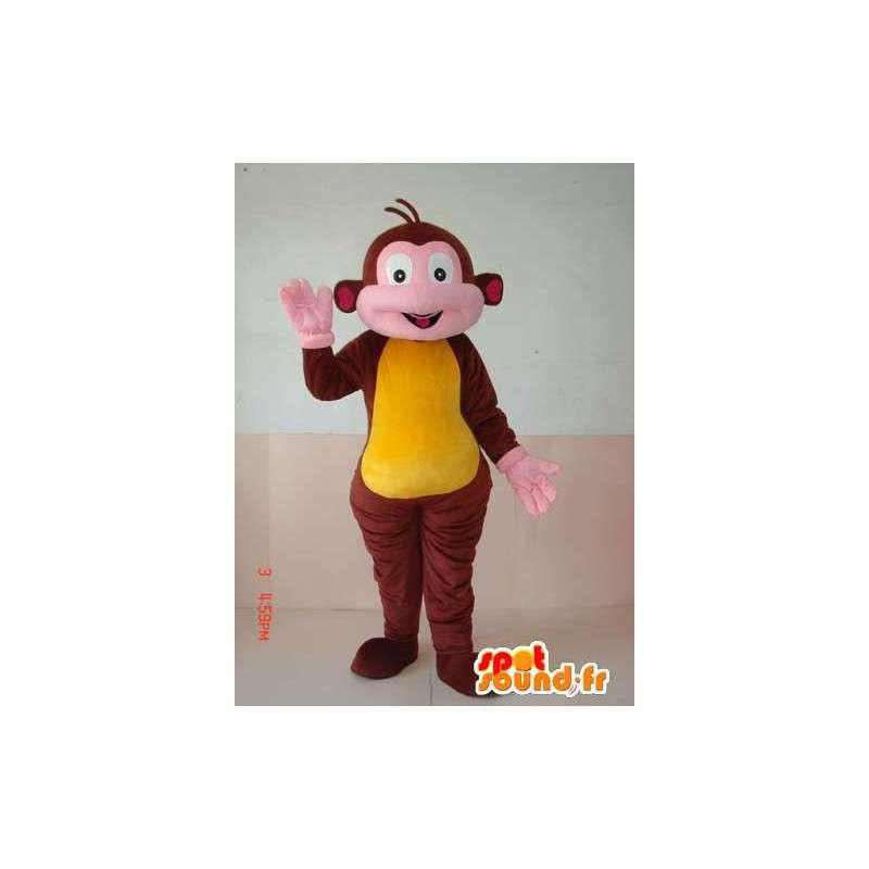 Traje de mono marrón y amarillo.Zoológico de animales para las festividades - MASFR00636 - Mono de mascotas