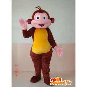 Costume de singe marron et jaune. Animal de zoo pour festivités - MASFR00636 - Mascottes Singe