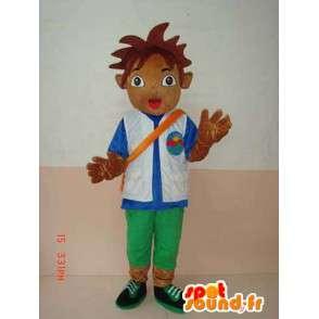 Mascotte de sponsor officiel de football. Garçon avec accessoires - MASFR00638 - Mascottes Garçons et Filles