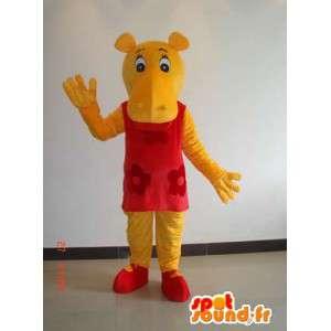 Μασκότ κίτρινο θηλυκό ιπποπόταμο με κόκκινο φόρεμα - φορεσιά κόμμα