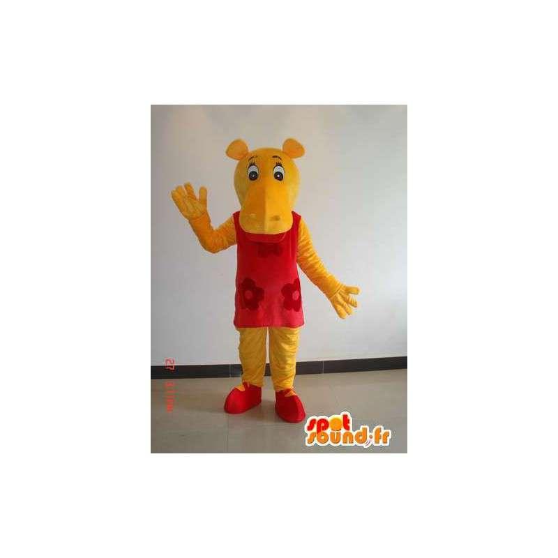 Mascotte hippopotame féminin jaune avec robe rouge - Costume fête - MASFR00639 - Mascottes Hippopotame