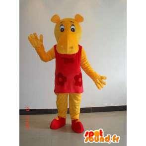 Μασκότ κίτρινο θηλυκό ιπποπόταμο με κόκκινο φόρεμα - φορεσιά κόμμα - MASFR00639 - Hippo Μασκότ