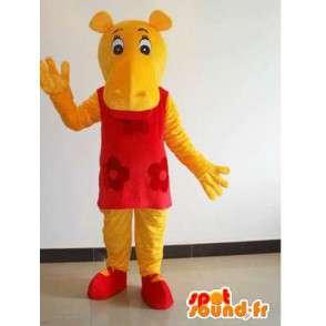 Maskotti keltainen naisten virtahepo kanssa punainen mekko - naamiaiset - MASFR00639 - Hippo Maskotteja