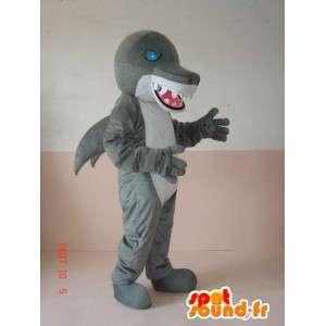 Mascotte de méchant dinosaure requin gris et blanc avec yeux bleu
