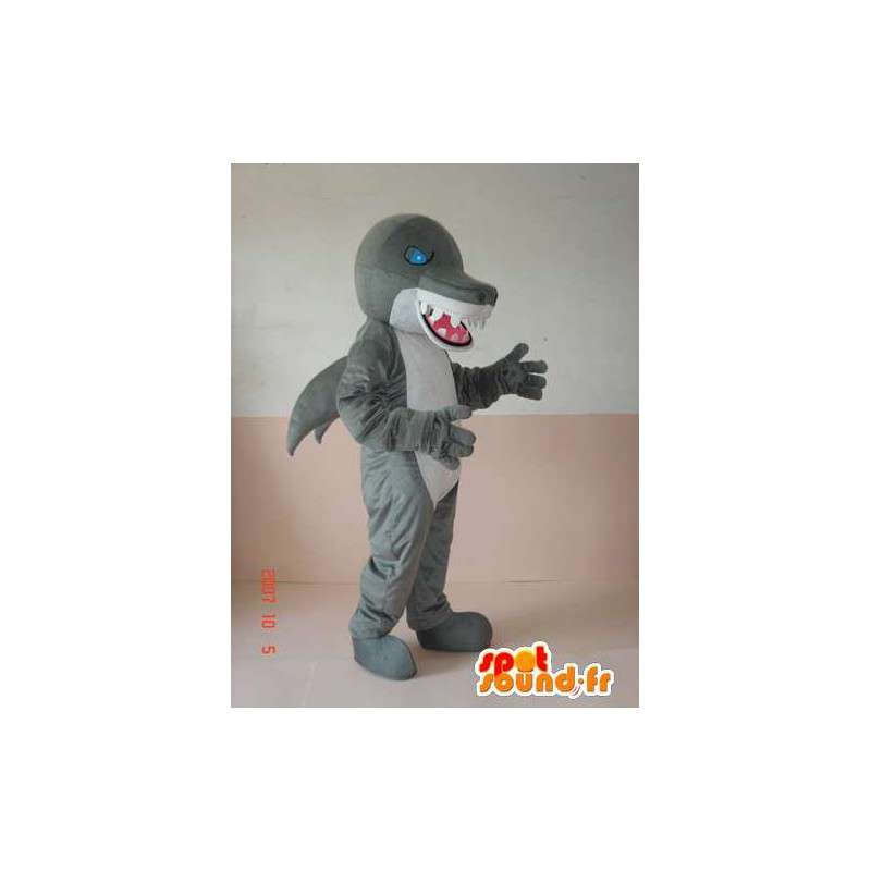 Wicked squalo mascotte dinosauro grigio e bianco con gli occhi azzurri - MASFR00640 - Dinosauro mascotte
