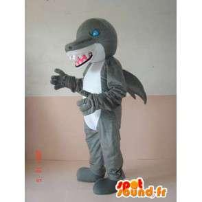 Maskotti ilkeä dinosaurus hain harmaa ja valkoinen siniset silmät - MASFR00640 - Dinosaur Mascot