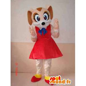 Cute dog mascot with red skirt and accessories