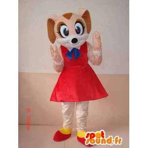 Mascotte de chienne mignonne avec jupon rouge et accessoires