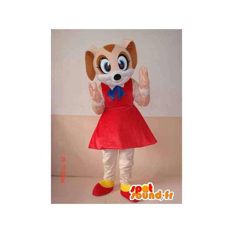 赤いペチコートやアクセサリーとかわいい犬のマスコット - MASFR00641 - 犬マスコット